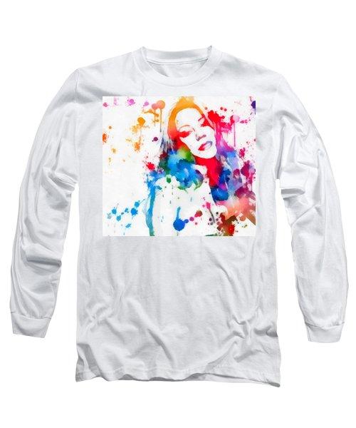 Mariah Carey Watercolor Paint Splatter Long Sleeve T-Shirt