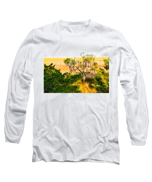 Marsh Cedar Tree And Moss Long Sleeve T-Shirt
