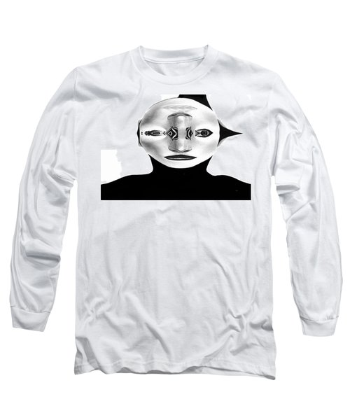Long Sleeve T-Shirt featuring the painting Mask Black And White by Rafael Salazar