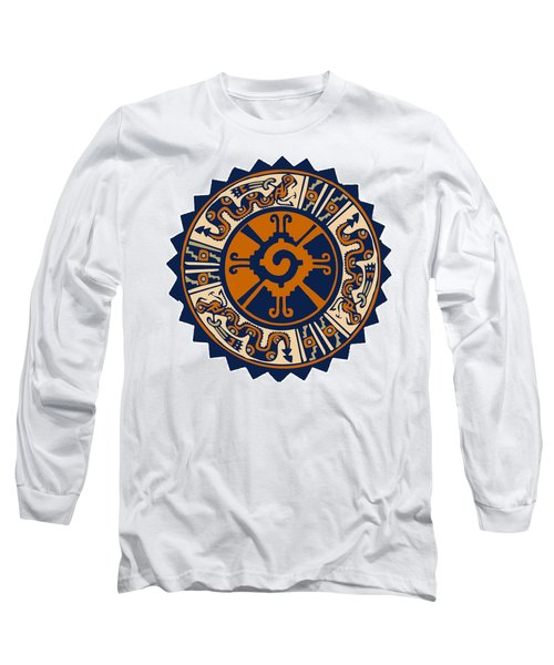Long Sleeve T-Shirt featuring the digital art Mayan Hunab Ku by Vagabond Folk Art - Virginia Vivier