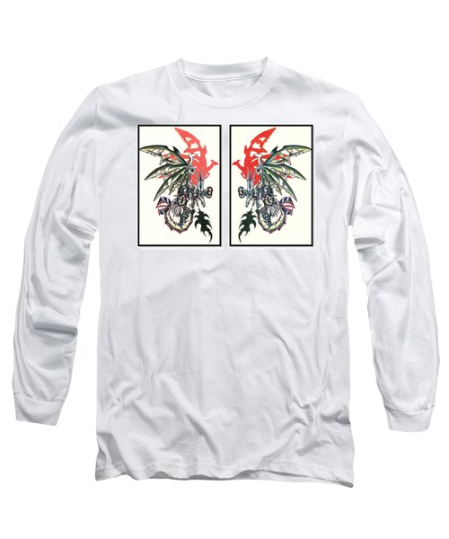 Long Sleeve T-Shirt featuring the painting Mech Dragons Collide by Shawn Dall