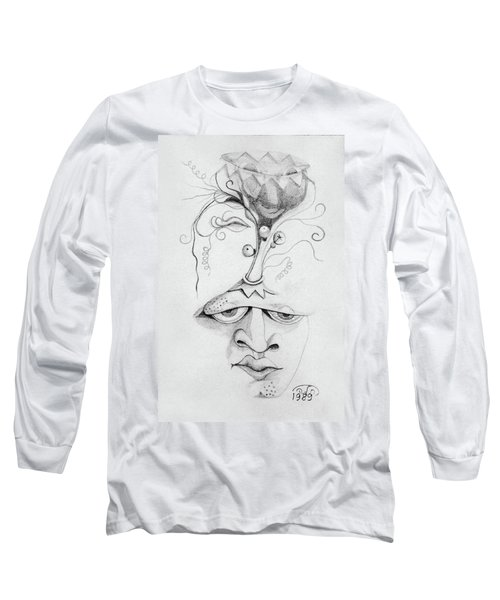 Meditation On The Crown Chakra Or Where Is Your Mind Going Surrealistic Fantasy Of Face With Energy  Long Sleeve T-Shirt by Rachel Hershkovitz