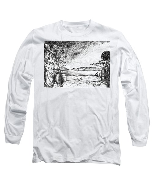 Long Sleeve T-Shirt featuring the drawing Mediterranean Cat by Teresa White