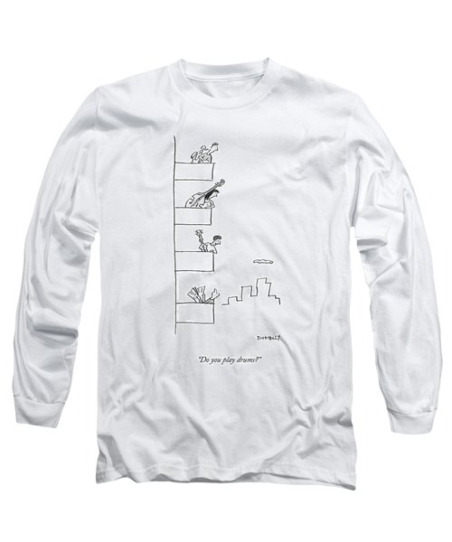Men Playing Instruments On Different Levels Long Sleeve T-Shirt