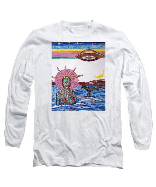 Yemoja Ufo  Long Sleeve T-Shirt by Stormm Bradshaw