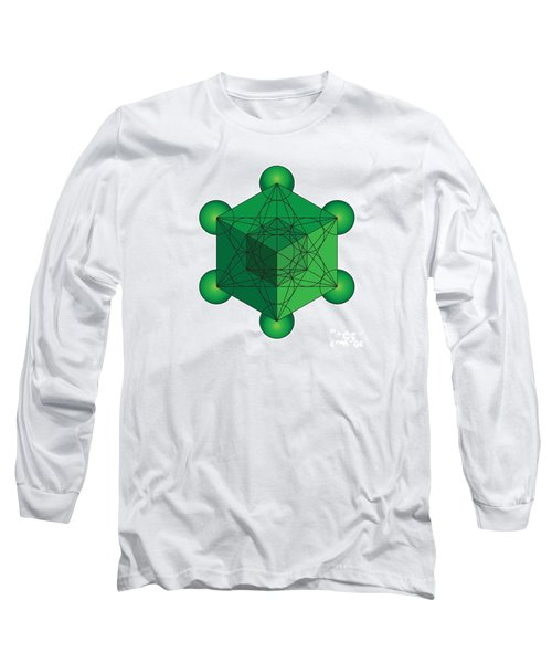Metatron's Cube In Green Long Sleeve T-Shirt