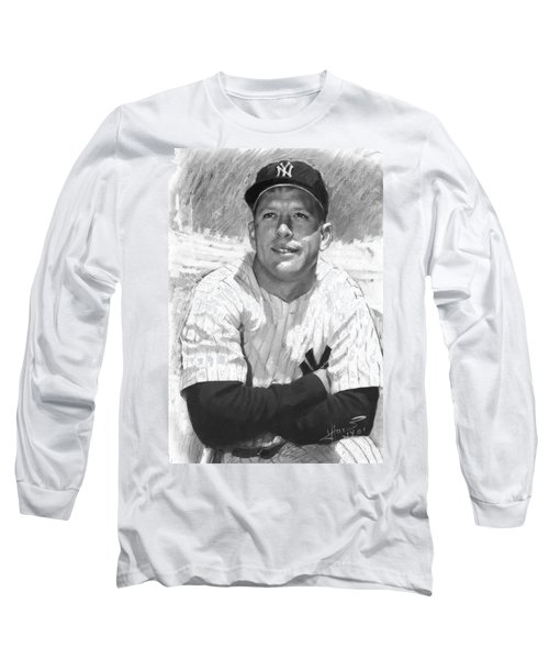 Mickey Mantle Long Sleeve T-Shirt by Viola El