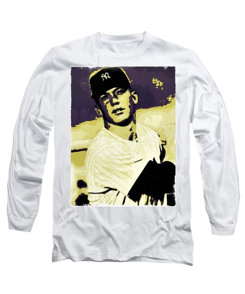 Mickey Mantle Poster Art Long Sleeve T-Shirt
