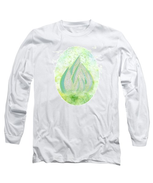 Long Sleeve T-Shirt featuring the drawing Mini Forest With Birds In Flight - Illustration by Lenny Carter