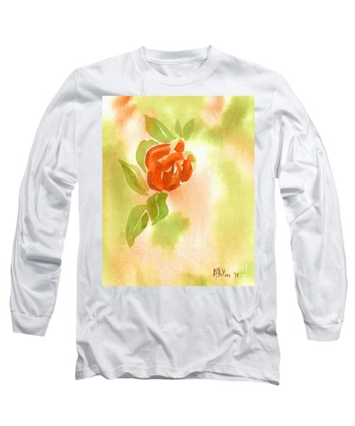 Long Sleeve T-Shirt featuring the painting Miniature Red Rose II by Kip DeVore