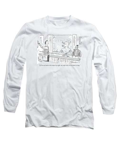 Minotaur At Bar Talking To Bartender Reaching Long Sleeve T-Shirt by Danny Shanahan