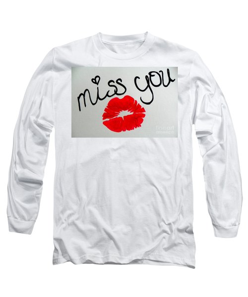 Long Sleeve T-Shirt featuring the painting Miss You  by Marisela Mungia