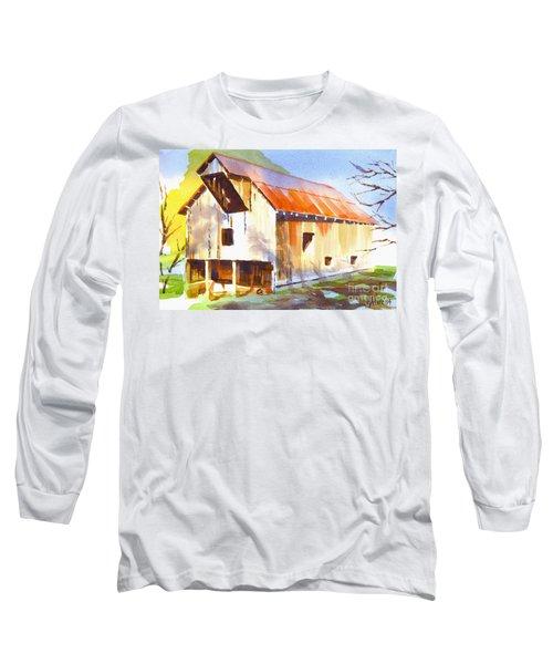 Missouri Barn In Watercolor Long Sleeve T-Shirt by Kip DeVore