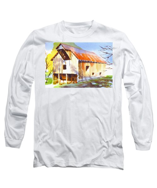 Missouri Barn In Watercolor Long Sleeve T-Shirt