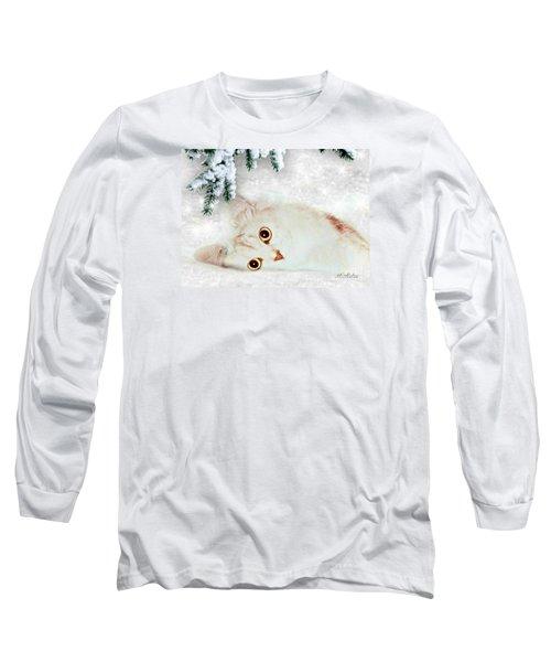 Mistletoe In The Snow Long Sleeve T-Shirt by Morag Bates
