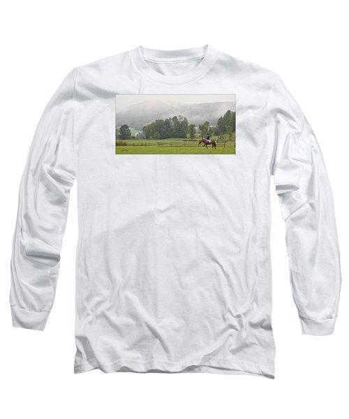 Misty Morning Ride Long Sleeve T-Shirt by Joan Davis