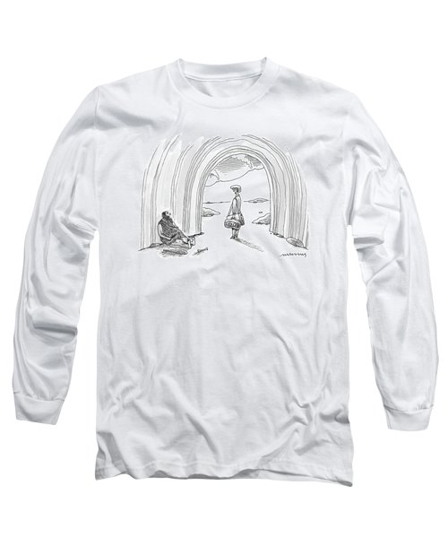 Modern Woman Walking Out On A Caveman Long Sleeve T-Shirt