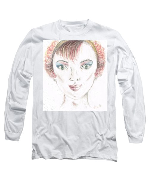 Long Sleeve T-Shirt featuring the drawing Mollys Makeover/ Pink Day by Teresa White
