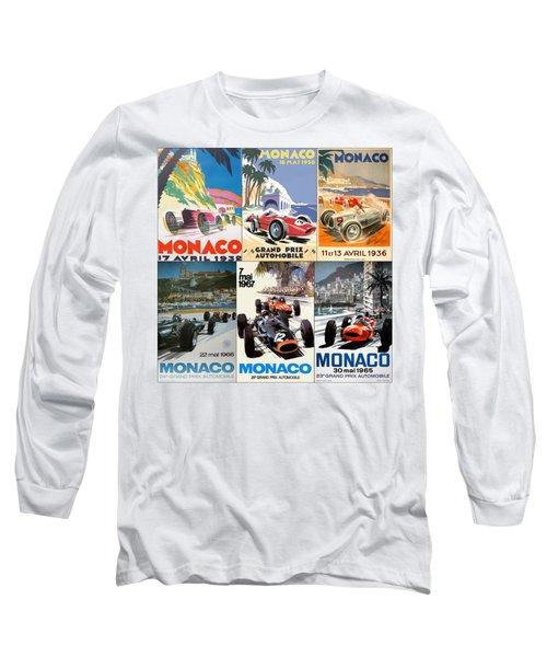 Monaco F1 Grand Prix Vintage Poster Collage Long Sleeve T-Shirt