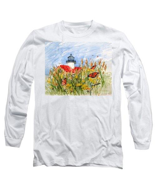 Monarch Butterflies At East Point Light Long Sleeve T-Shirt
