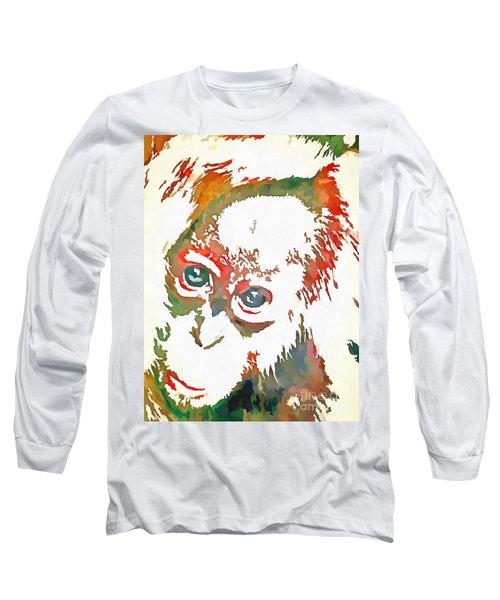Monkey Pop Art Long Sleeve T-Shirt by Catherine Lott