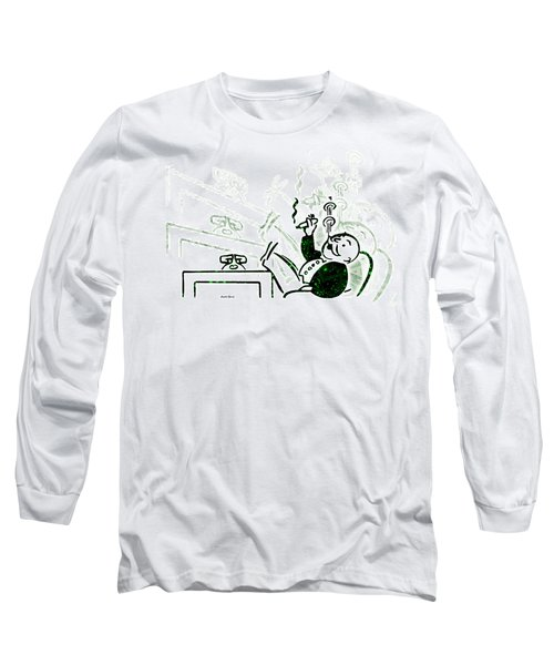 Monopoly Man - Bank Dividend Long Sleeve T-Shirt by Stephen Younts