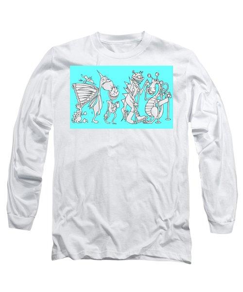 Monster Queue Blue Long Sleeve T-Shirt