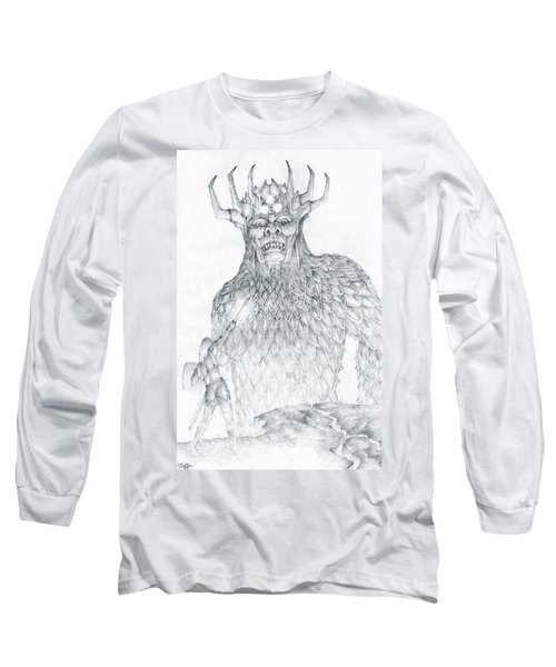 Long Sleeve T-Shirt featuring the drawing Morgoth And Fingolfin by Curtiss Shaffer