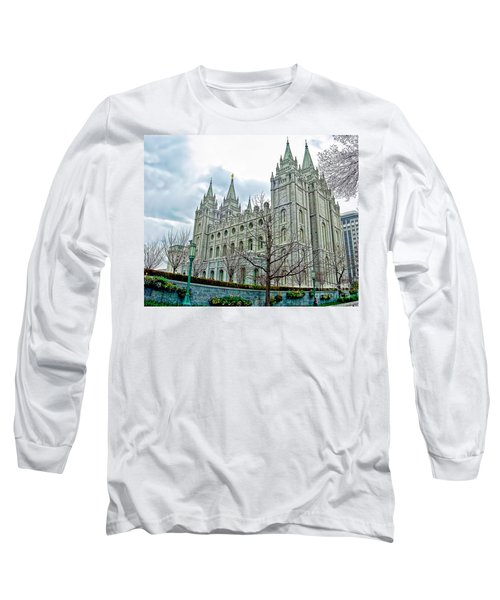 Mormon Temple In Early Spring Long Sleeve T-Shirt by Gary Holmes