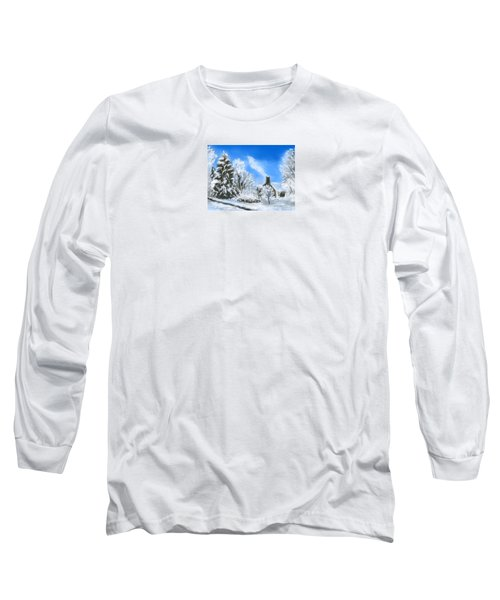 Long Sleeve T-Shirt featuring the painting Morning After The Snowstorm  by Jean Pacheco Ravinski
