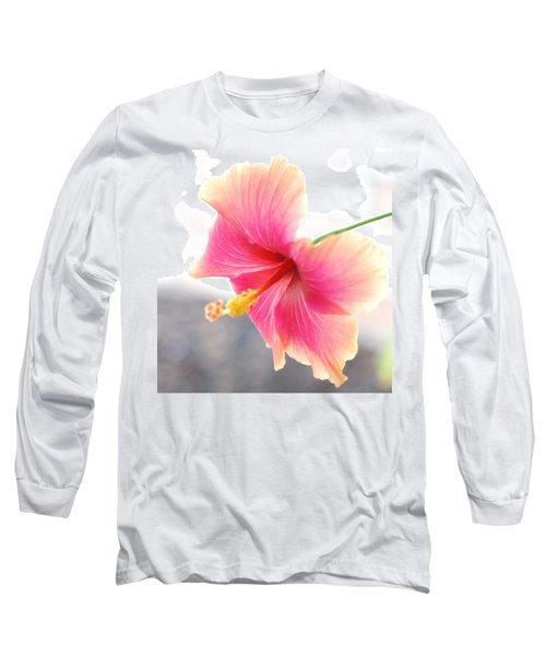 Morning Hibiscus In Gentle Light - Square Macro Long Sleeve T-Shirt by Connie Fox