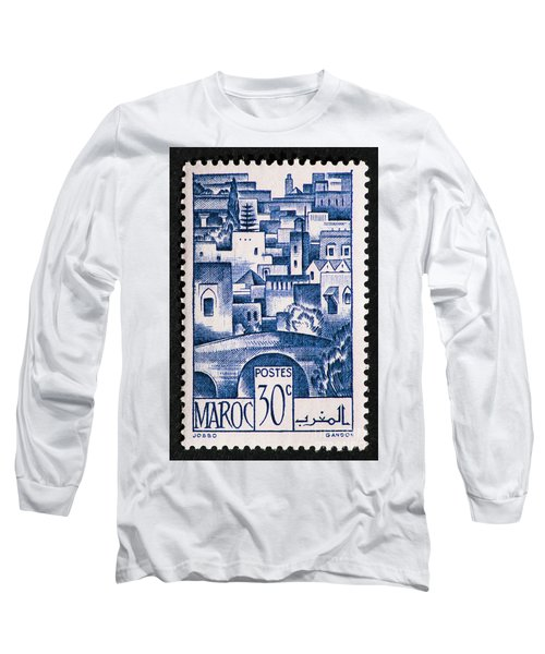 Morocco Vintage Postage Stamp Long Sleeve T-Shirt by Andy Prendy