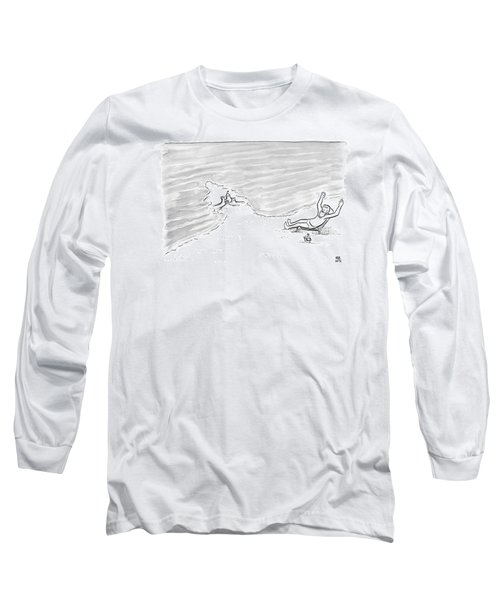 Moses Is Laying On A Beach Chair Parting The Sea Long Sleeve T-Shirt