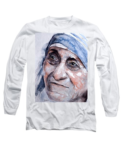 Mother Theresa Watercolor Long Sleeve T-Shirt by Laur Iduc