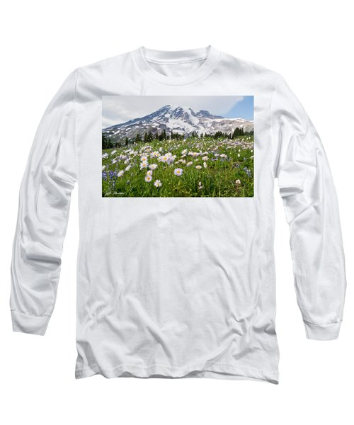 Mount Rainier And A Meadow Of Aster Long Sleeve T-Shirt