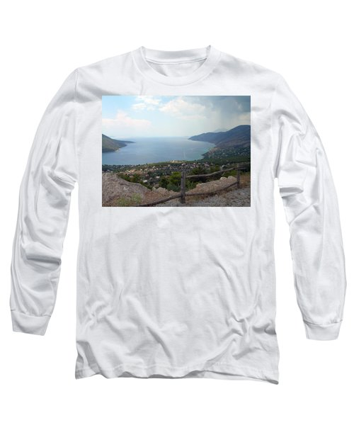 Mountain And Sea View In Greece Long Sleeve T-Shirt