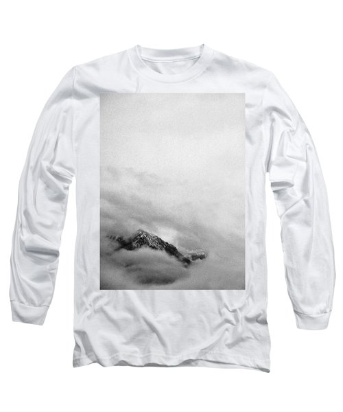 Mountain Peak In Clouds Long Sleeve T-Shirt by Peter v Quenter