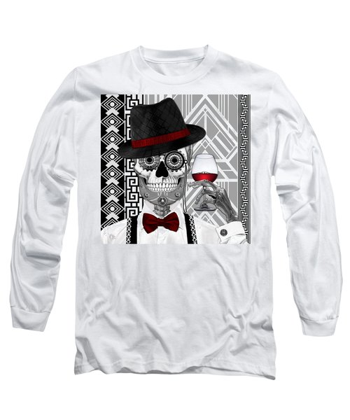 Mr. J.d. Vanderbone - Day Of The Dead 1920's Sugar Skull - Copyrighted Long Sleeve T-Shirt by Christopher Beikmann