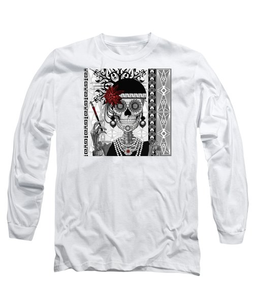 Mrs. Gloria Vanderbone - Day Of The Dead 1920's Flapper Girl Sugar Skull - Copyrighted Long Sleeve T-Shirt by Christopher Beikmann
