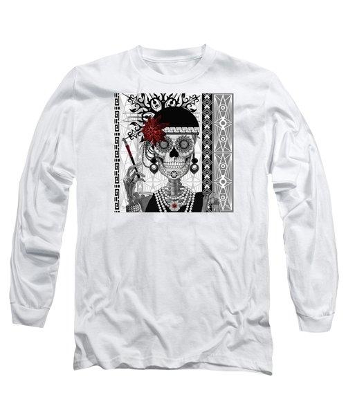Mrs. Gloria Vanderbone - Day Of The Dead 1920's Flapper Girl Sugar Skull - Copyrighted Long Sleeve T-Shirt