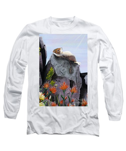 Long Sleeve T-Shirt featuring the painting Ms. Elizabeth Taking In The Rays by Jennifer Lake