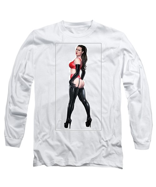 Long Sleeve T-Shirt featuring the pastel Ms. Sinister by Joseph Ogle