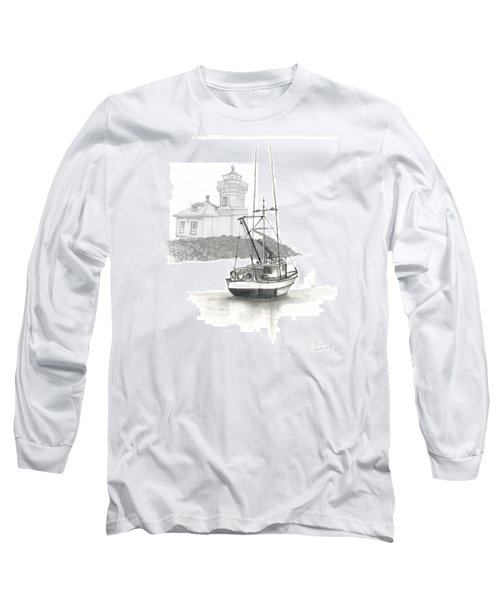 Long Sleeve T-Shirt featuring the drawing Mukilteo Lighthouse by Terry Frederick