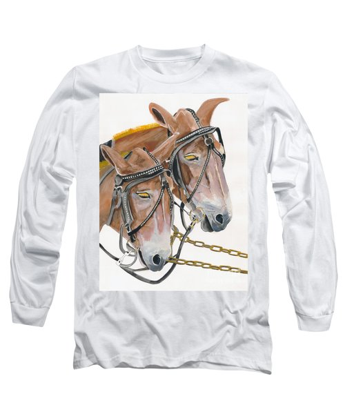 Long Sleeve T-Shirt featuring the painting Mules - Two - Beast Of Burden by Jan Dappen