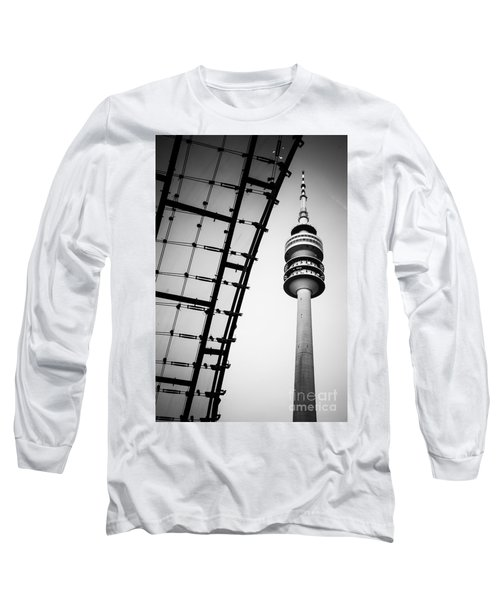 Munich - Olympiaturm And The Roof - Bw Long Sleeve T-Shirt by Hannes Cmarits