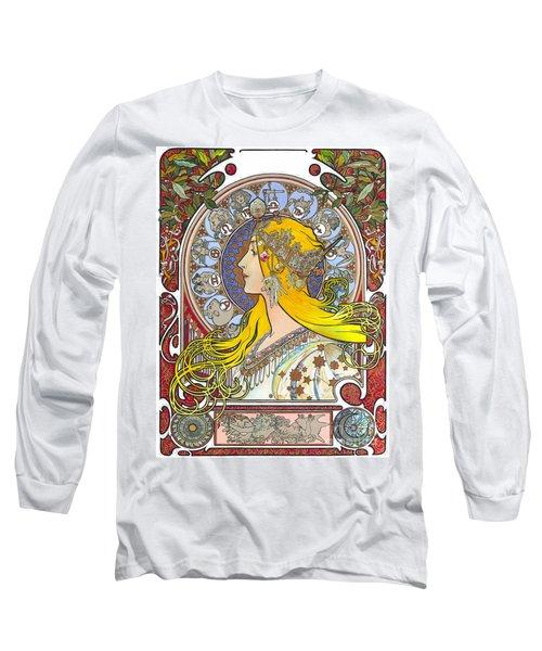 My Acrylic Painting As An Interpretation Of The Famous Artwork Of Alphonse Mucha - Zodiac - Long Sleeve T-Shirt