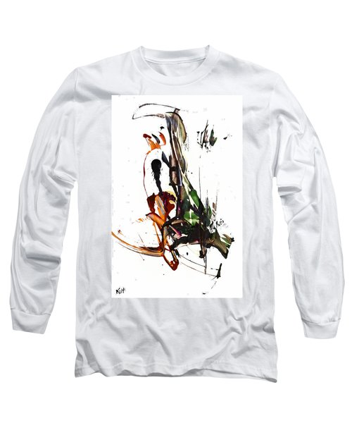 Long Sleeve T-Shirt featuring the painting My Form Of Jazz Series - 10185.110709 by Kris Haas