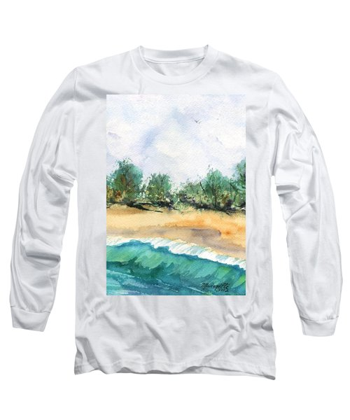 Long Sleeve T-Shirt featuring the painting My Secret Beach by Marionette Taboniar