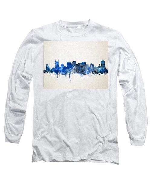 Nashville Skyline Watercolor 11 Long Sleeve T-Shirt by Bekim Art