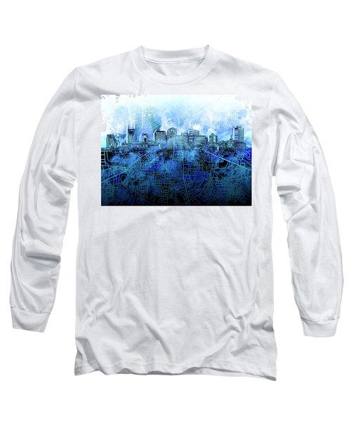 Nashville Skyline Watercolor 3 Long Sleeve T-Shirt
